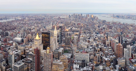 New York City Manhattan downtown aerial view with urban city skyline and skyscrapers buildings. Stock Photo - 12574018