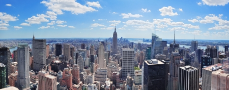 manhatten skyline: New York Midtown Manhattan Luftaufnahmen Panorama-Ansicht mit Wolkenkratzern und blauer Himmel in den Tag
