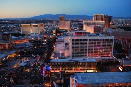 Urban skyline, Las Vegas, Nevada, with luxury hotels at sunset.