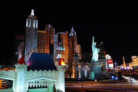 Las Vegas Street night scene with Luxury New York New York Hotel Casino.