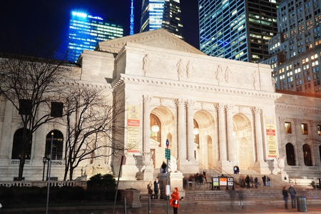 NEW YORK CITY, NY - DEC 30: New York Public Library and street on December 30, 2011 New York City. It is the 2nd largest public library in US and managed with both private and public financing.  Stock Photo - 13021713