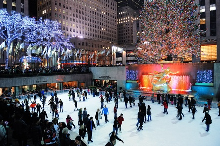 declared: NEW YORK CITY, NY -DEC 30: Rockefeller Center skating rink at night on December 30, 2011, New York City. It was built by the Rockefeller family in 1939 and declared National Historic Landmark in 1987. Editorial