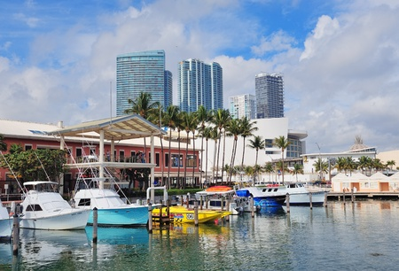 MIAMI, FL - FEB 7: Bayside Marketplace in day on February 7, 2012 in Miami, Florida. It is a festival marketplace and the top entertainment complex in Downtown Miami attracting 15M people annually. Stock Photo - 13021687
