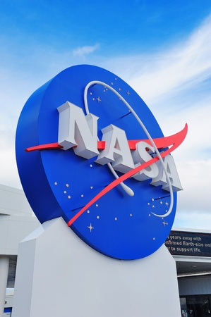 kennedy: MERRITT ISLAND, FL - FEB 12: NASA logo in Kennedy Space Center on February 12, 2012 in Merritt Island, Florida. It is the launch site for every United States human space flight since 1968.