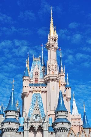 ORLANDO, FL - FEB 13: Cinderella Castle in the day on February 13, 2012 in Orlando, Florida. Magic Kingdom is the most visited theme park in the world attracting 17 million visitors in 2010.