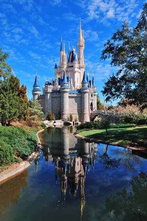 ORLANDO, FL - FEB 13: Cinderella Castle in the day on February 13, 2012 in Orlando, Florida. Magic Kingdom is the most visited theme park in the world attracting 17 million visitors in 2010. Stock Photo - 13021717
