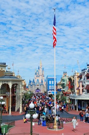 ORLANDO, FL - FEB 13: Magic Kingdom park view on February 13, 2012 in Orlando, Florida. Magic Kingdom is the most visited theme park in the world attracting 17 million visitors in 2010. Stock Photo - 13021464