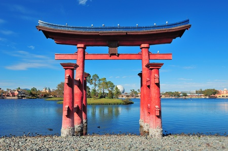 ORLANDO, FL - FEB 13: Disney Epcot Japanese style architecture with blue sky on February 13, 2012 in Orlando, Florida. Epcot is the third most visited theme park in the US, and fifth in the world.