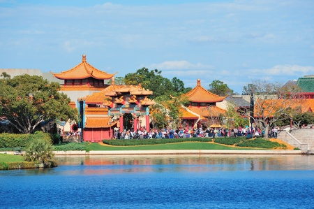 ORLANDO, FL - FEB 13: Disney Epcot Chinese style architecture with blue sky on February 13, 2012 in Orlando, Florida. Epcot is the third most visited theme park in the US, and fifth in the world.