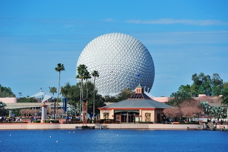 ORLANDO, FL - FEB 13: Disney Epcot over lake on February 13, 2012 in Orlando, Florida. Epcot is the third most visited theme park in the US, and fifth in the world.