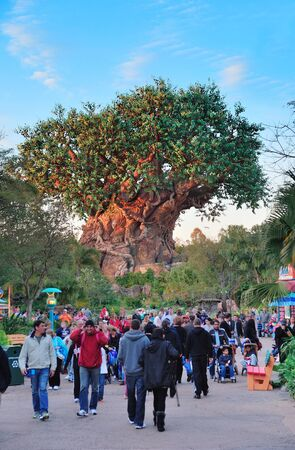 ORLANDO, FL - FEB 13: The Tree of Life and pedestrians  on February 13, 2012 in Orlando, Florida. Animal Kingdom is the largest single Disney theme park in the world covering more than 500 acres.