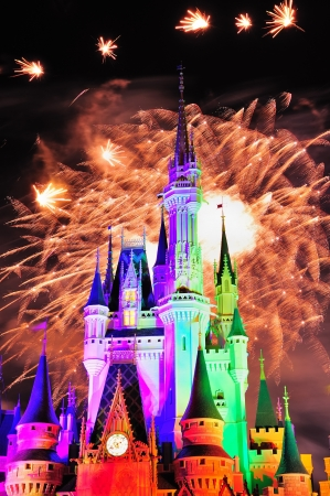 theme park: ORLANDO, FL - FEB 13: Disney Magic Kingdom fireworks show on February 13, 2012 in Orlando, Florida. Magic Kingdom is the most visited theme park in the world attracting 17 million visitors in 2010. Editorial