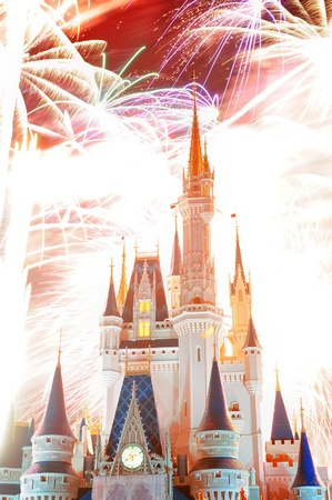 ORLANDO, FL - FEB 13: Disney Magic Kingdom fireworks show on February 13, 2012 in Orlando, Florida. Magic Kingdom is the most visited theme park in the world attracting 17 million visitors in 2010.