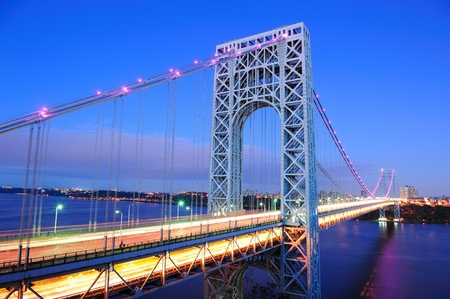 new jersey: George Washington Bridge at dusk over Hudson River. Editorial