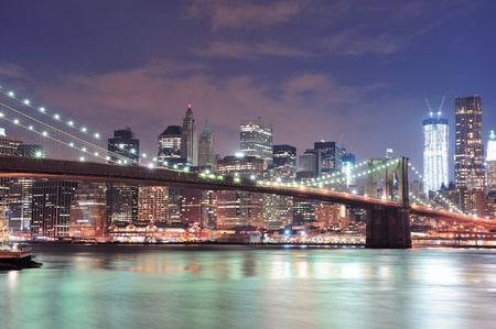 brooklyn bridge: New York City Brooklyn Bridge with downtown skyline over East River.