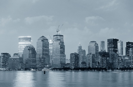 New York City Manhattan downtown skyline over Hudson River panorama black and white
