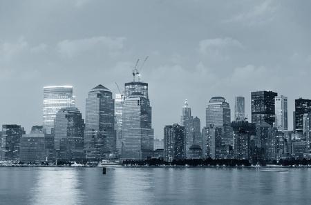 New York City Manhattan downtown skyline over Hudson River panorama black and white