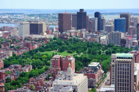 boston cityscape: Boston downtown aerial view with historical architecture, street and city skyline.