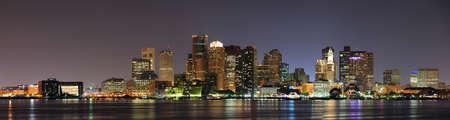 Urban city night scene panorama from Boston Massachusetts