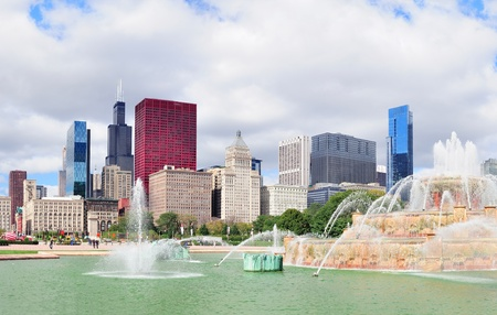 Chicago skyline panorama with skyscrapers and Buckingham fountain in Grant Park in the morning