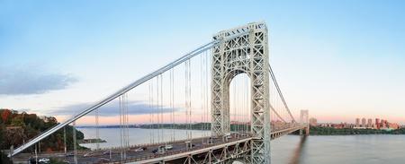 george washington: Puente de George Washington al atardecer panorama sobre el río Hudson. Editorial