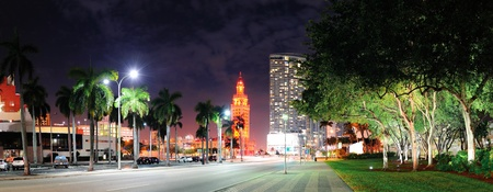 Miami downtown street panorama view at night with hotels.