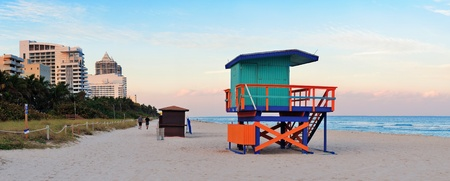 lifeguard tower: Miami Beach sunset panorama with lifeguard tower and hotels.