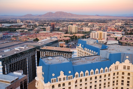 Las Vegas aerial view. Viewed from top of Eiffel Tower Hotel.