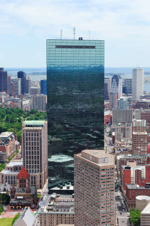 Boston downtown skyline aerial view with modern skyscrapers and street. Stock Photo - 14143074