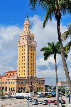 declared: MIAMI, FL - FEB 7: Freedom Tower on street on February 7, 2012 in Miami, Florida. As a memorial to Cuban immigration and Miami city landmark, it is declared as US National Historic Landmark in 2008.