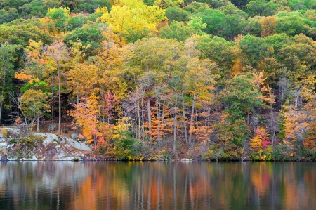 Bear Mountain with Hudson River in Autumn with colorful foliage and water reflection. photo