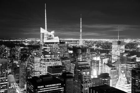 New York City skyline aerial view at dusk with skyscrapers of midtown Manhattan in black and white. Stock Photo