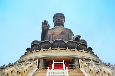 large: Giant bronze Buddha statue in Hong Kong.