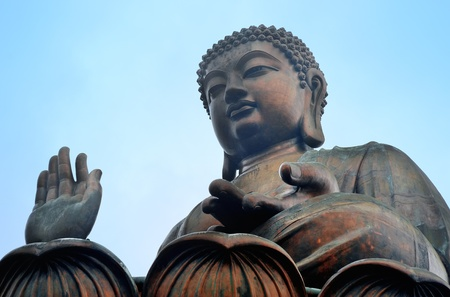 Giant bronze Buddha statue in Hong Kong. photo