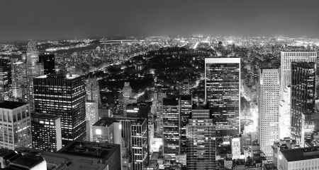 midtown: New York City Central Park panorama aerial view black and white at night.