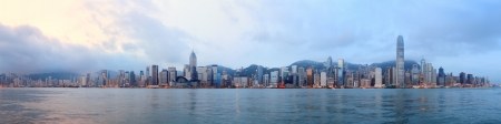 Hong Kong skyline panorama in the morning over Victoria Harbour. 스톡 콘텐츠