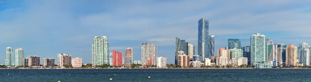 Miami skyline panorama in the day with urban skyscrapers and cloudy sky over sea Stock Photo - 14118096