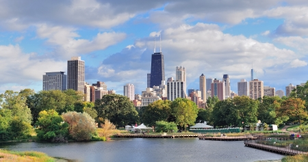 Chicago skyline with skyscrapers viewed from Lincoln Park over lake. photo