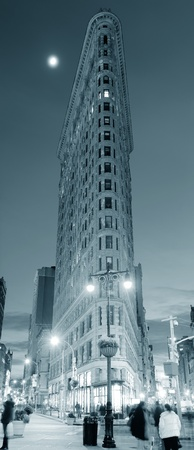 burnham: NEW YORK CITY, NY - DEC 30: Flatiron Building at night on March 30, 2011 in New York City. Flatiron building designed by Chicagos Daniel Burnham was designated a New York City landmark in 1966.