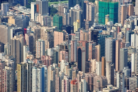 hong kong people: Urban architecture in Hong Kong in the day