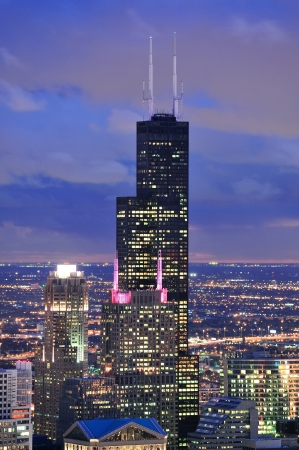 CHICAGO, IL - Oct 6: Willis tower close up on October 6, 2011 in Chicago, Illinois. Willis Tower know as the famous landmark is 1451 feet high as the worlds tallest for 25 years since its completion. photo