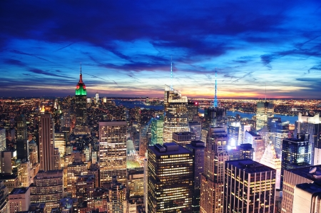 new york night: New York City skyline aerial view at dusk with colorful cloud, Empire State and skyscrapers of midtown Manhattan.