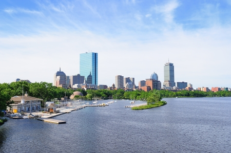 Boston back bay with sailing boat and urban building city skyline in the morning.  Stock Photo - 14360339