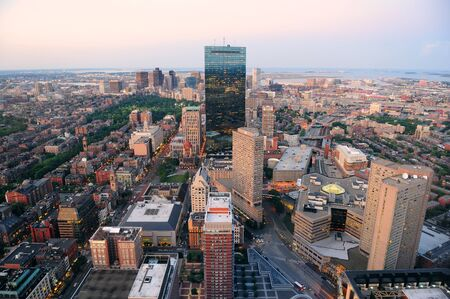 Urban city aerial view. Boston aerial view with skyscrapers at sunset with city downtown skyline. Stock Photo - 14360618