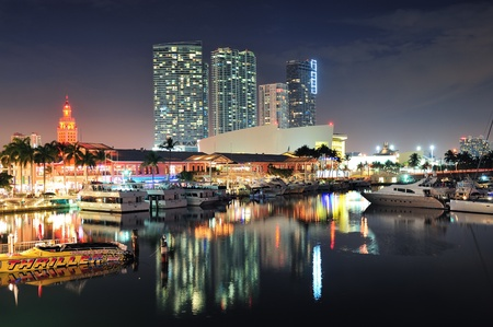 MIAMI, FL - FEB 8: Bayside Marketplace at night on February 8, 2012 in Miami, Florida. It is a festival marketplace and the top entertainment complex in Downtown Miami attracting 15M people annually. photo