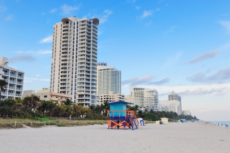 Miami South Beach with blue sky and hotels photo