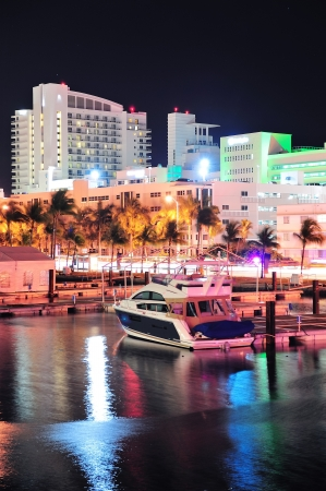 Miami south beach street view with water reflections at night photo