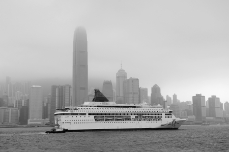 Hong Kong skyline black and white in a foggy day. photo