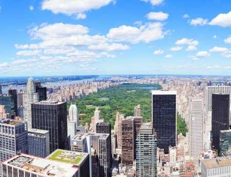 New York City Manhattan midtown aerial panorama view with skyscrapers and central park in the day  photo