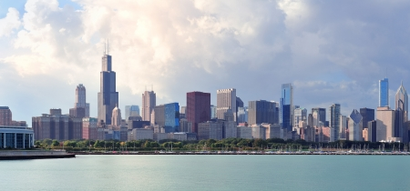 Chicago skyline panorama with skyscrapers over Lake Michigan with cloudy blue sky Stock Photo - 14361015